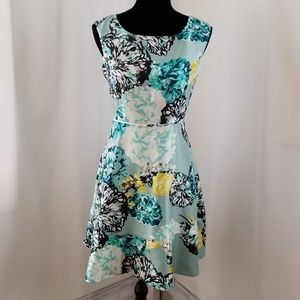 Turquoise Sleeveless A-Line Dress